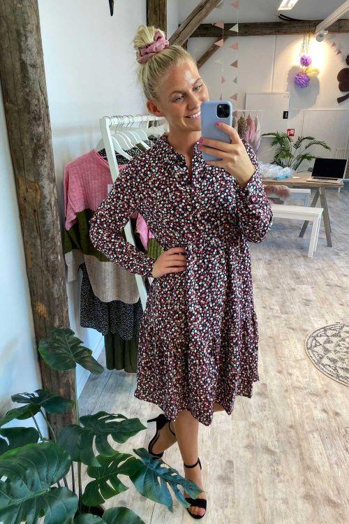 Jacqueline de Yong Kjole JDY Piper LS AOP Shirt Dress Dark Navy/Rose Ditsy Hover