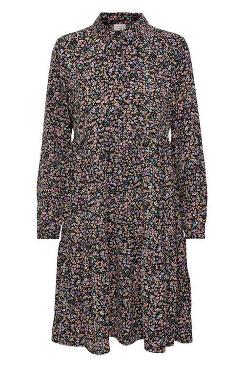 Jacqueline de Yong - Kjole - JDY Piper LS Shirt Dress - Black/Vibrant Small Flower