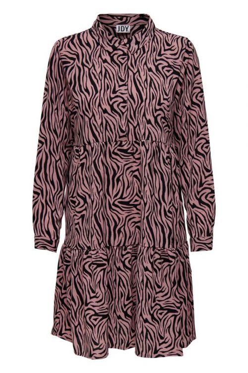 Jacqueline de Yong - Kjole - JDY Piper LS Shirt Dress - Black/Woodrose Zebra