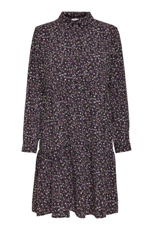 Jacqueline De Yong - Kjole - Piper L/S AOP Shirt Dress - Black