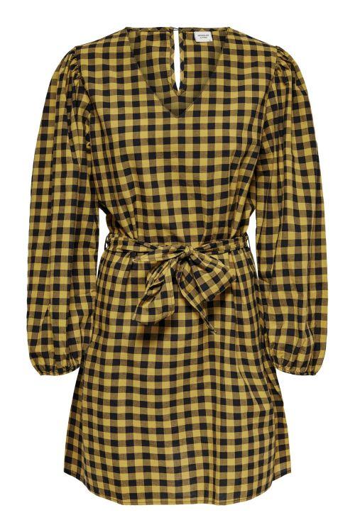 Jacqueline de Yong Kjole JDY Rome L/S Wrap Puff Dress Black Checks/Woodtrush Front