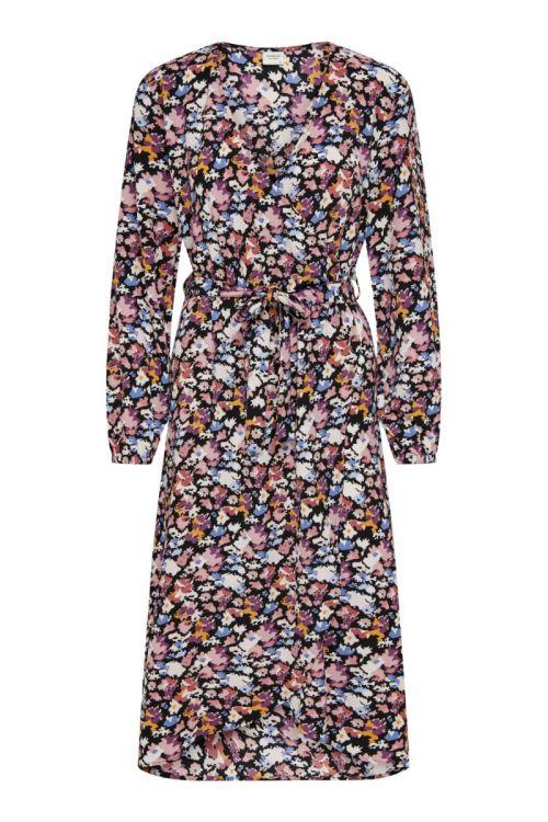 Jacqueline de Yong - Kjole - JDY Roxanne LS Wrap Dress - Black/Pastel ABS