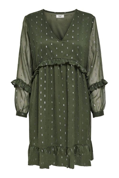 Jacqueline de Yong Kjole JDY Shimmer 7/8 Dress Forest Night Front