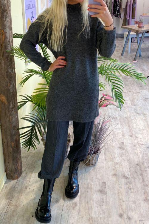 Jacqueline De Young - Kjole - JDY Ziza LS Dress - Dark Grey Melange