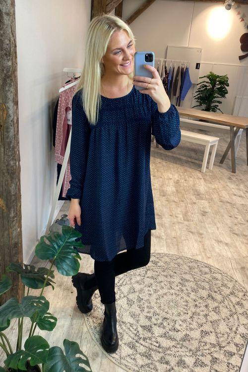 Jacqueline de Yong Kjole JDY Liv LS Short Dress Sky Captain/Rhombus Hover