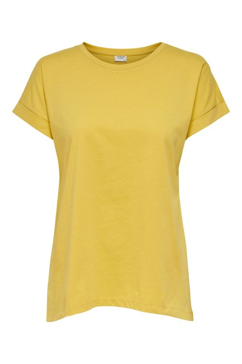 Jacqueline de Yong T-shirt JDY Louisa Life Fold Up Top Misted Yellow Front
