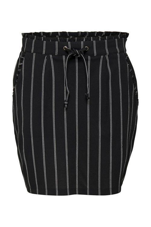 Jacqueline de Yong Nederdel JDY Catia Treats Skirt Black/Double Stripe Front