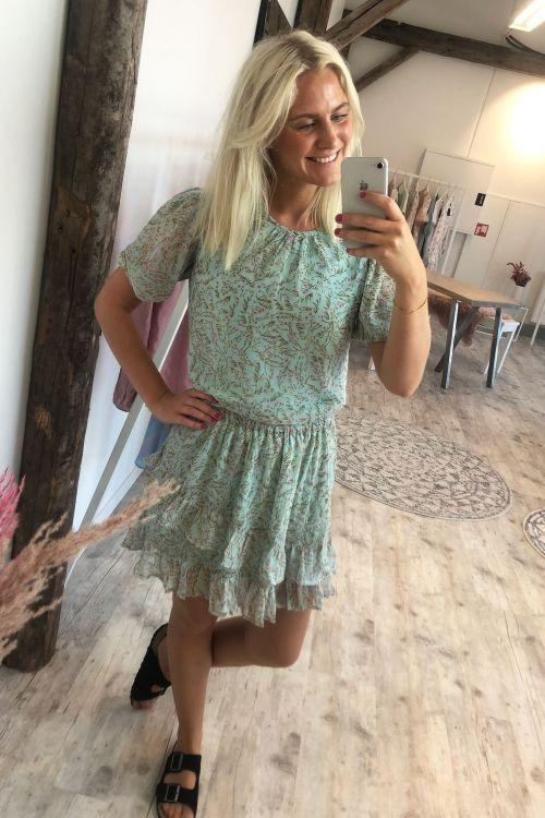 Jacqueline de Yong Nederdel JDY Nelly Jennifer Frill Skirt Blue Haze/Branch Flower Hover