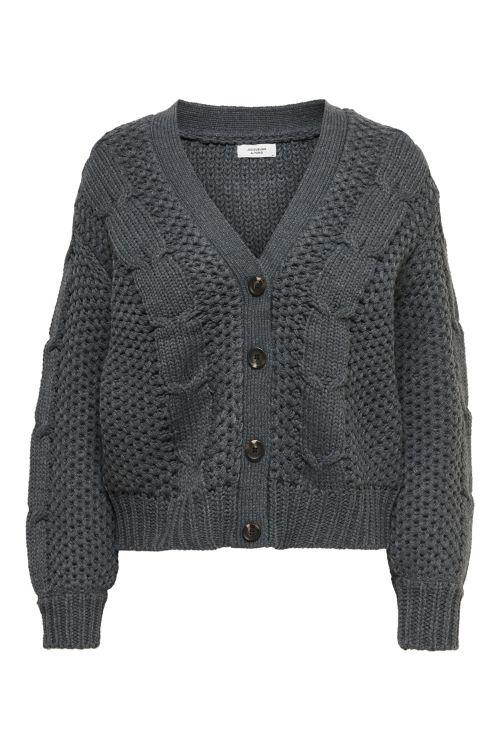 Jacqueline de Yong Strik JDY Julia Cable L/S Cardigan Knit Dark Grey Melange Front