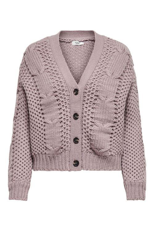Jacqueline de Yong Strik JDY Julia Cable L/S Cardigan Knit Woodrose Front