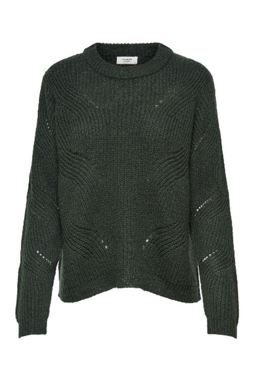 Jacqueline de Yong Strik New Daisy L/S Structure Pullover Knit Scarab Front