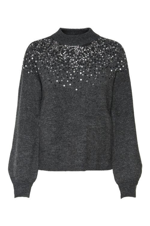 Jacqueline de Yong Strik JDY New Sparkle LS Pullover Knit Dark Grey Melange Front