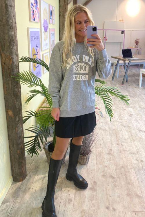 JDY - Sweatshirt -  JDY Rana L/S Long Print Sweat - Light Grey Melange