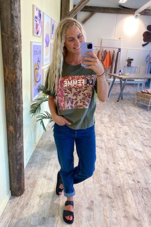 Jacqueline de Yong - T-shirt - Birka Life SS Print T-shirt - Kalamata