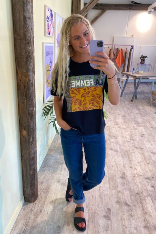 Jacqueline de Yong - T-shirt - Birka Life SS Print T-shirt - Black