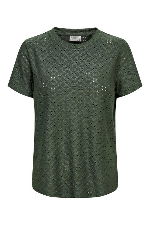 Jacqueline de Yong T-shirt JDY Cathinka SS Tag Top Forest Night Front