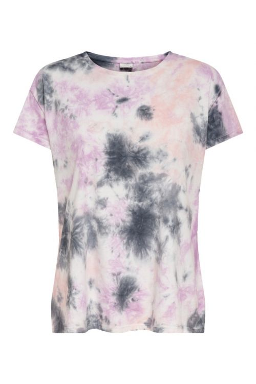 JDY - T-shirt - Coco Life SS Tie Dye Top - Cloud Dancer/Random Tie