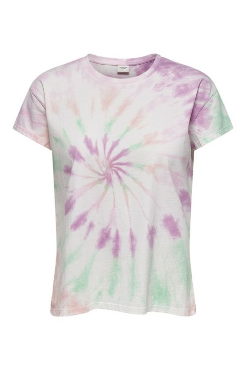 JDY - T-shirt - Coco Life SS Tie Dye Top - Cloud Dancer/Spiral Tie