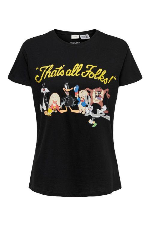 Jacqueline de Yong T-shirt JDY Esther Life SS License Print Top Black/That Is OK Front