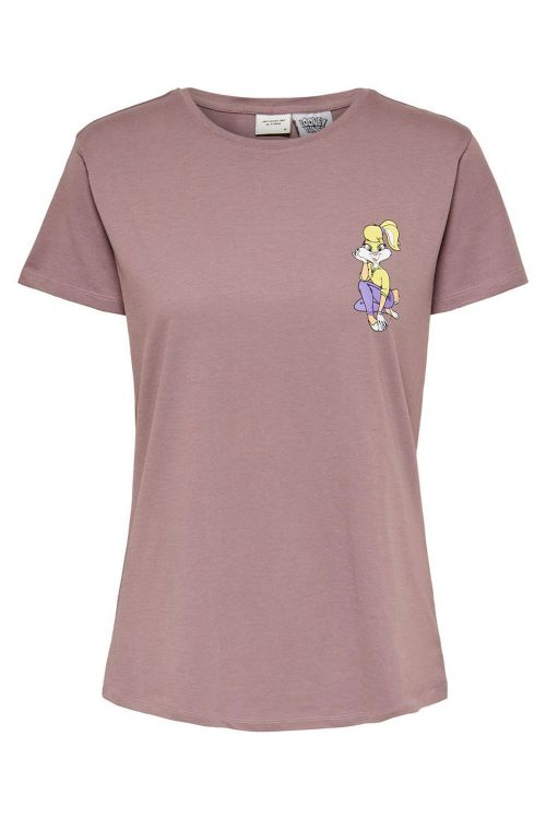 Jacqueline de Yong T-shirt JDY Esther Life SS License Print Top Twilight Mauve/Lola Bunny Front