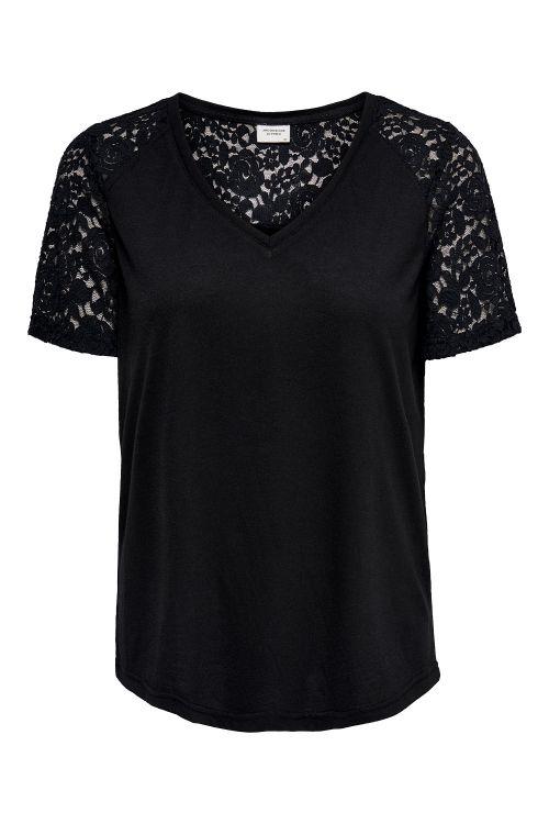 Jacqueline de Yong T-shirt JDY Stinne S/S Lace Top Black/Lace Front