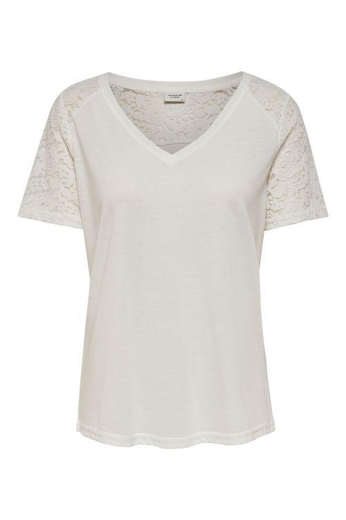 Jacqueline de Yong T-shirt JDY Stinne S/S Lace Top Cloud Dancer/Lace Front