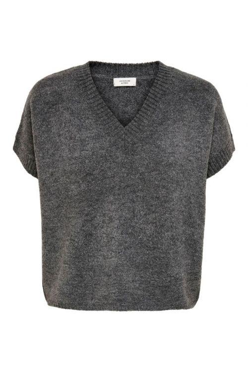 JDY - Vest - Rubi V-neck Vest - Dark Grey Melange