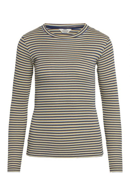 Mads Nørgaard Bluse 2x2 Cotton Stripe Tuba Blue Multi Front