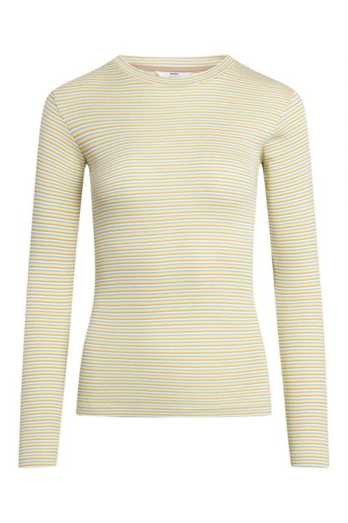 Mads Nørgaard Bluse 2x2 Cotton Stripe Tuba Travertine/Aqua Front