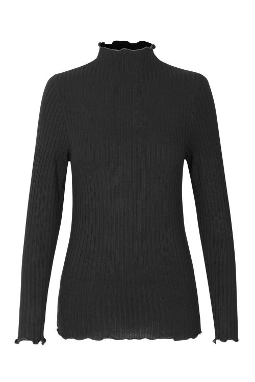 Mads Nørgaard Bluse 5x5 Eco Rib Trutte Black Front