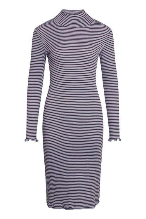 Mads Nørgaard - Kjole - 2x2 Cotton Stripe Scuba Dress - Brunnera/Winetasting