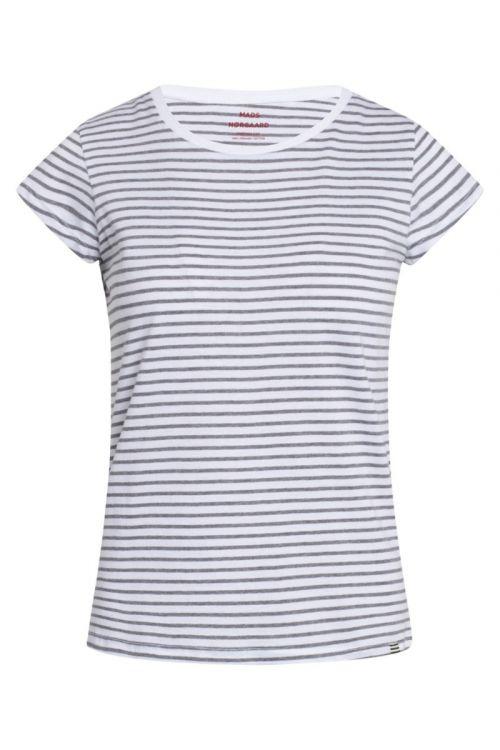 Mads Nørgaard T-shirt Organic Favorite Stripe Teasy White/Grey Melange Front