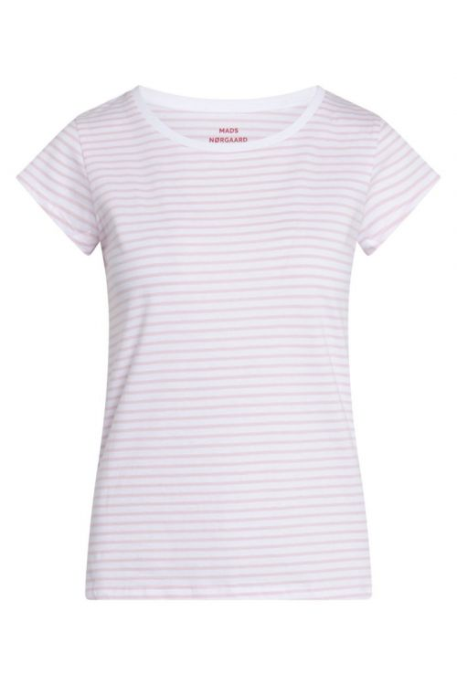 Mads Nørgaard - T-shirt - Organic Favorite Stripe Teasy - White/Light Pink