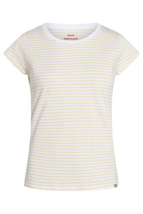 Mads Nørgaard - T-shirt - Organic Favorite Stripe Teasy - White/Pale Banana