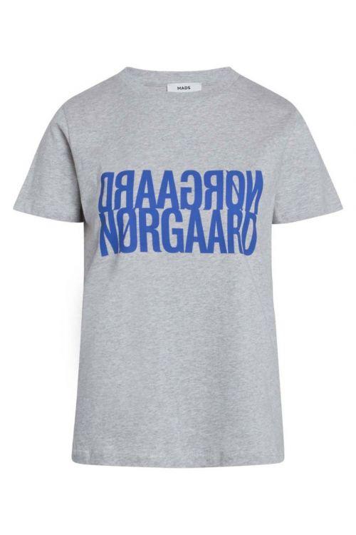 Mads Nørgaard - T-shirt - Single Organic Trenda P Tee - Light Grey Melange