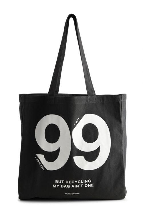 Markberg Taske Isidora 99 Problems Shopper Black w/White Print Front