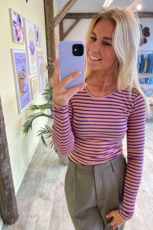 MbyM Bluse Lilita Peach Violet Ocrhid Stripe J92 Hover