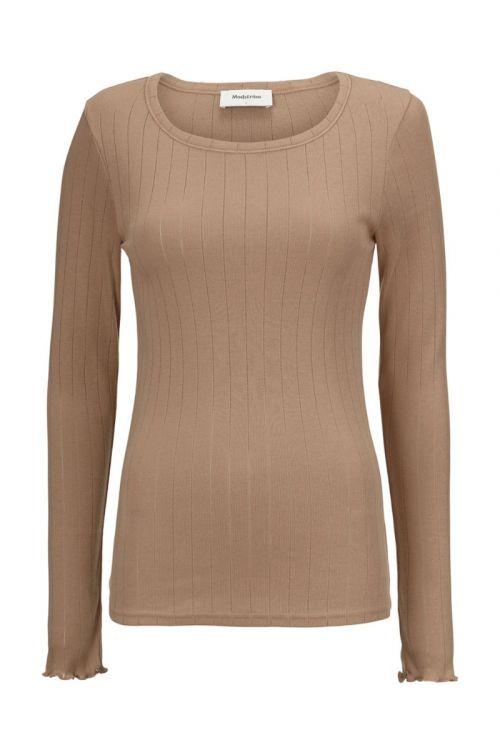 Modström - Bluse - Issy LS T-shirt - Camel Dust