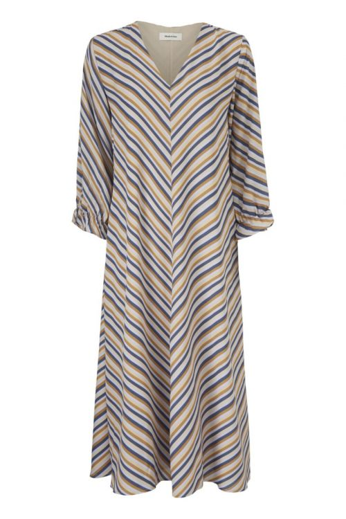 Modström Kjole Clementine Print LS Dress Faded Dark Stripe Front