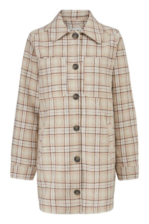 Modström Skjorte Ikaia Coatigan Cream Brown Check Front