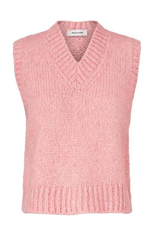 Modström Vest Valentia V-Neck Vest Dusty Pink Front