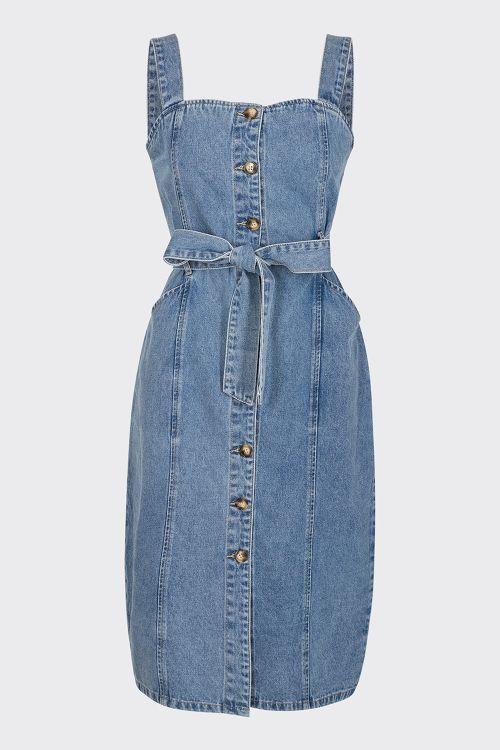 Moves by Minimum - Kjole - Ibbi Dress - Medium Blue