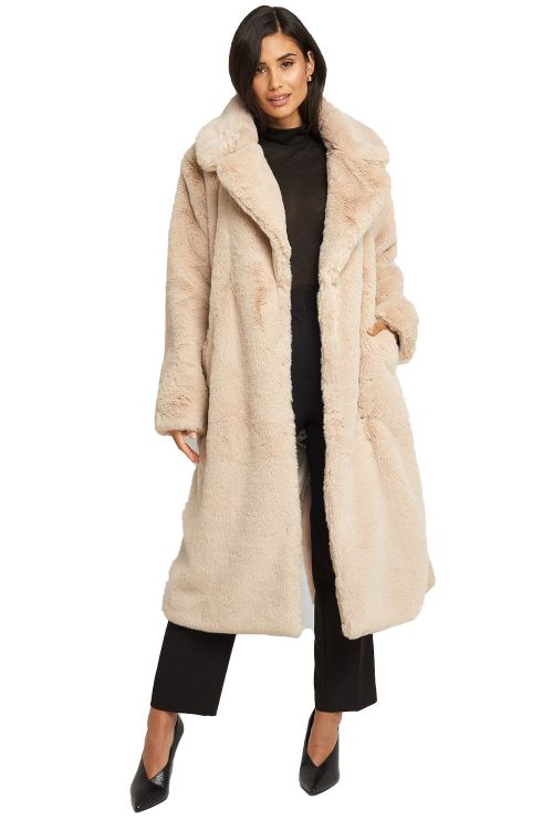 NA-KD Jakke Soft Faux Fur Long Coat Light Beige Front