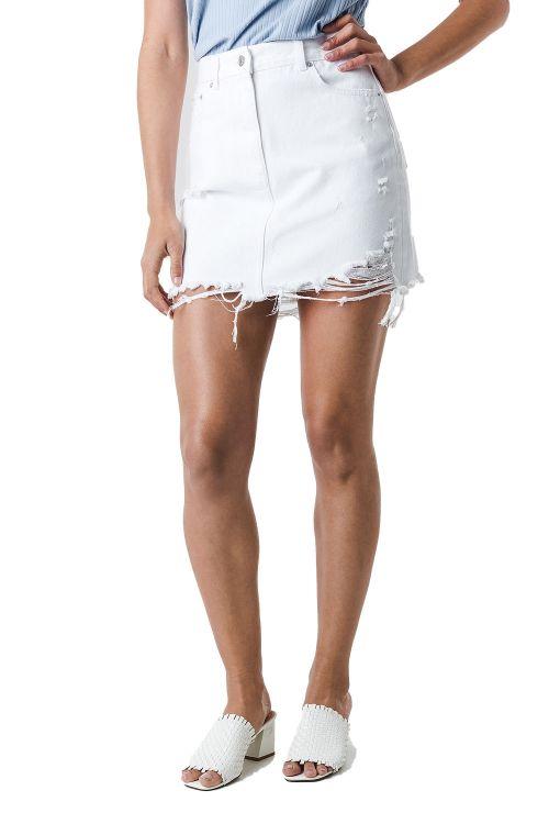 NA-KD Nederdel Distressed Denim Mini Skirt White Front