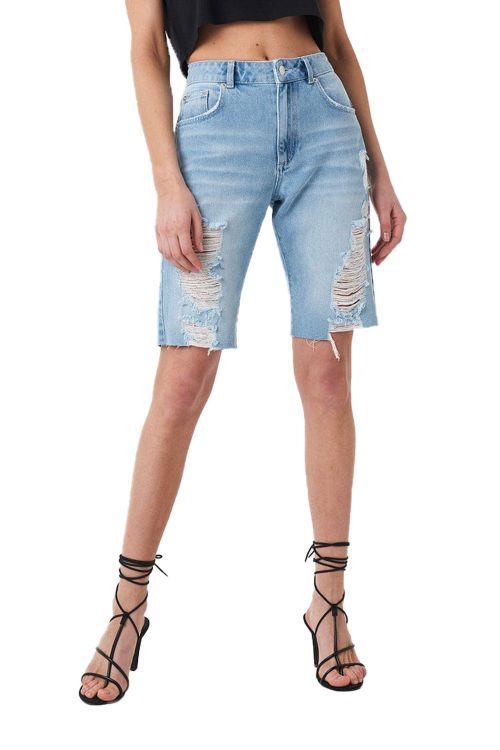 NA-KD - Shorts - Ribbed Shorts - Light Blue Wash