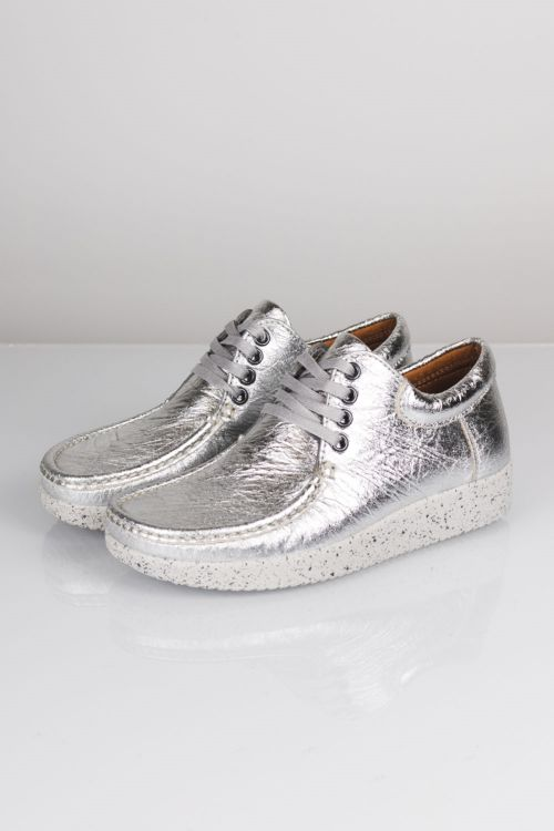 Nature Sko Anna Pineapple Leather Silver Front