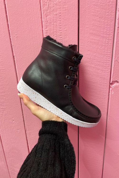 Nature - Sko - Asta Leather (Vegatable Tanned) w. Fur - Black