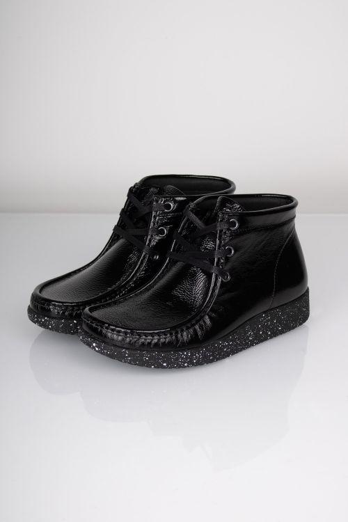Nature Sko Emma Leather Black Shiny Front
