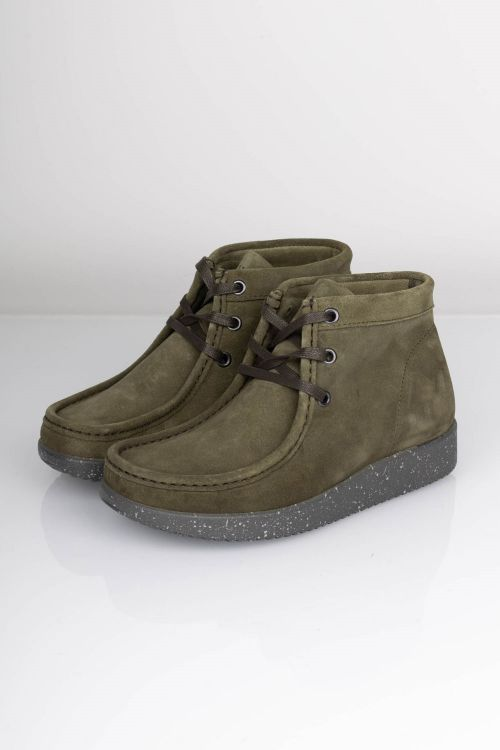 Nature Sko Emma Suede Army Green W. Matching Sole Front