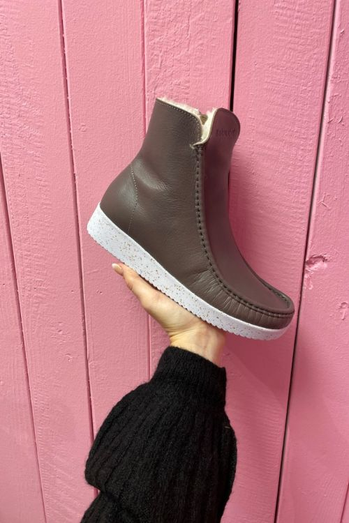 Nature - Sko - Nanna Leather (Vegatable Tanned) w. Fur - Warm grey